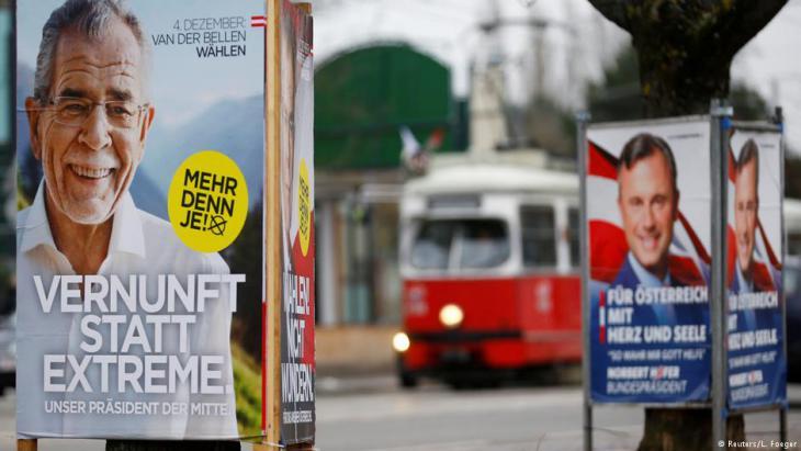 Wahlplakate während des Präsidentschaftswahlkampfs in Österreich im Jahr 2016; Foto: Reuters