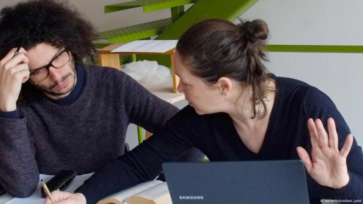Ramy Al-Asheq und Monika Rinck; Foto: weiterschreiben.jetzt