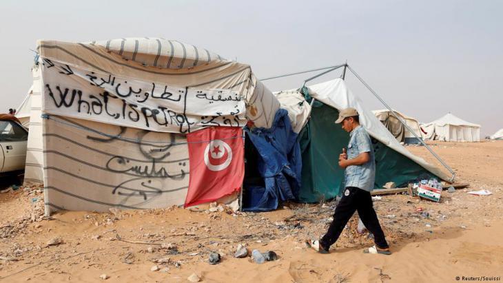 Sit-in-Camp von Demonstranten auf dem Ölfeld von El Kamour am 11. Mai 2017; Foto: Reuters/Zoubeir Souissi