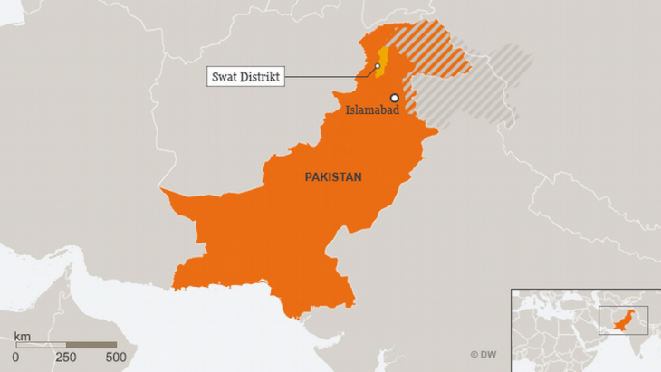 Karte zeigt Swat-Distrikt in Pakistan; Quelle: DW