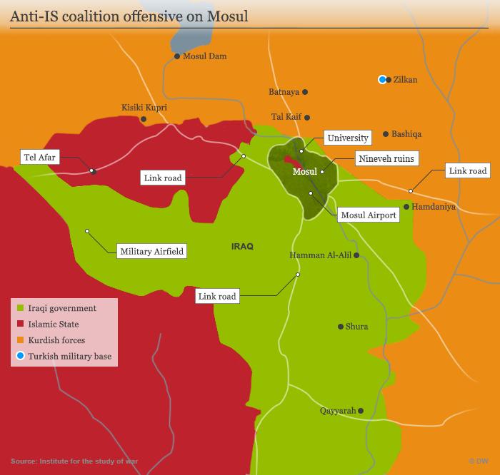 Infografik Umkämpftes Mossul; Quelle: DW