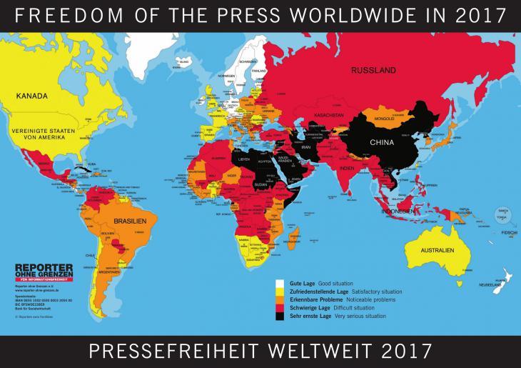 Rangliste der Pressefreiheit 2017, Quelle: Reporter ohne Grenzen