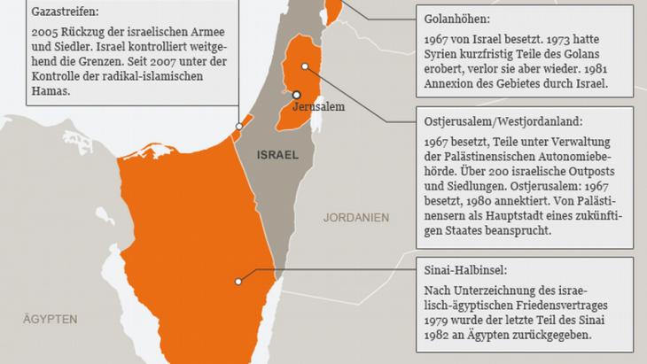 Infografik über die Folgen des Sechstagekriegs von 1967; Quelle: DW