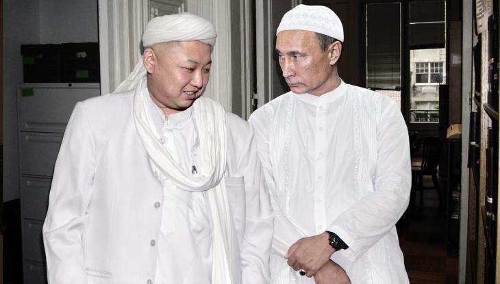 Wladimir Putin und Kim Jong Un gemeinsam im Gewand der Hadschis; Quelle: Agan Harahap/Instagram