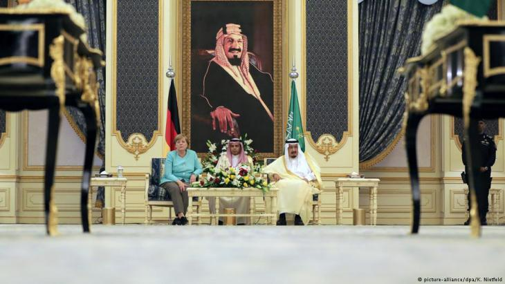 Bundeskanzlerin Angela Merkel auf Staatsbesuch in Saudi-Arabien am 30.04.2017 bei König Salman; Foto: Kay Nietfeld/dpa