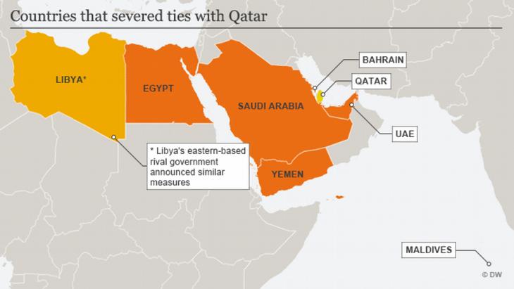 Infografik zeigt arabische Staaten, die ihre diplomatischen Beziehungen zu Qatar abgebrochen haben; Foto: DW
