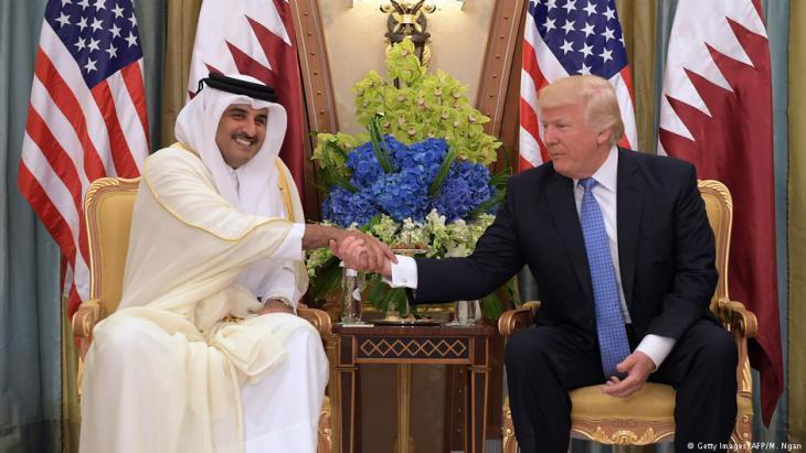 Der Emir von Qatar, Tamim Bin Hamad Al-Thani, trifft US-Präsident Donald Trump in Riad; Foto: Getty Images/AFP/M. Ngan