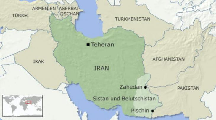Infografik: Irans Provinz Sistan und Belutschistan mit der Hauptstadt Zahedan; Quelle: DW