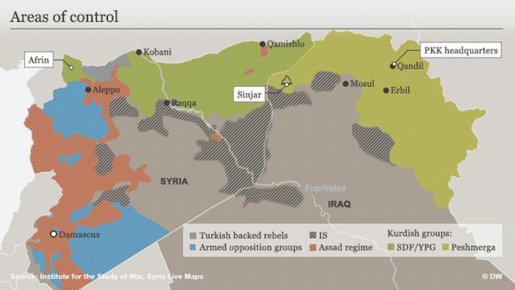 Karte der rivalisierenden Kräfte im Kampf gegen den IS in Syrien und Irak; Quelle: DW
