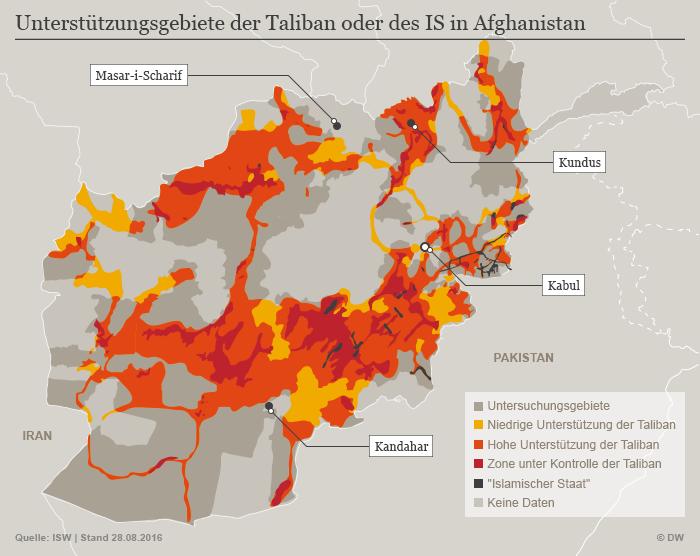 Infografik Machtzuwachs des IS und der Taliban in Afghanistan; Quelle: ISW/DW