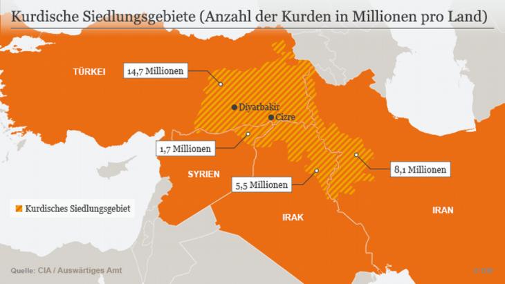 Kurdische Siedlungsgebiete. Grafik: DW, Stand 2016