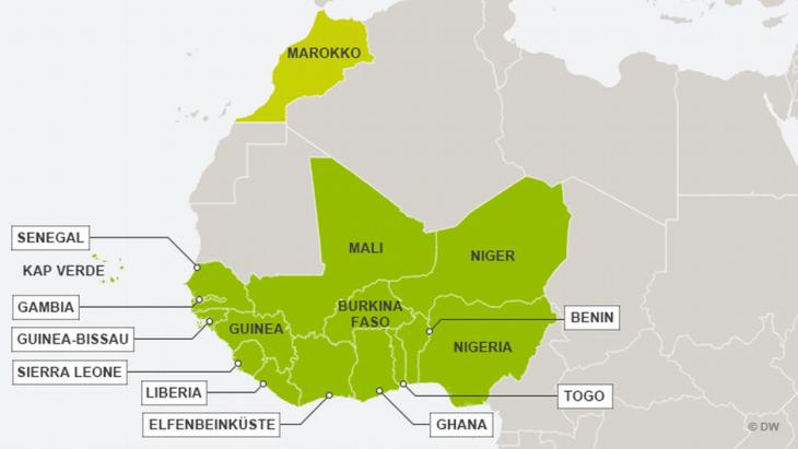 Die Mitgliedsländer der ECOWAS in Westafrika; Quelle: DW