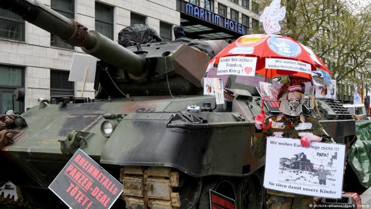Proteste gegen deutsche Waffenexporte in Berlin; Foto: dpa