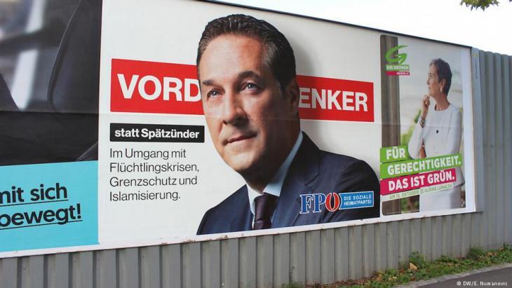 Stimmungsmache gegen Zuwanderer: Wahlplakat der FPÖ mit Kandidat Heinz-Christian Strache; Foto: DW