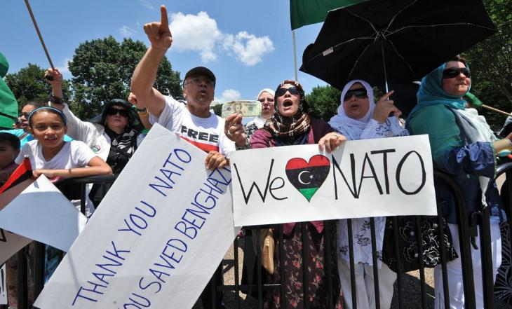 Gaddafi-Gegner demonstrieren am 9. Juli 2011 vor dem Weißen Haus in Washington; Foto: AFP/Getty Images