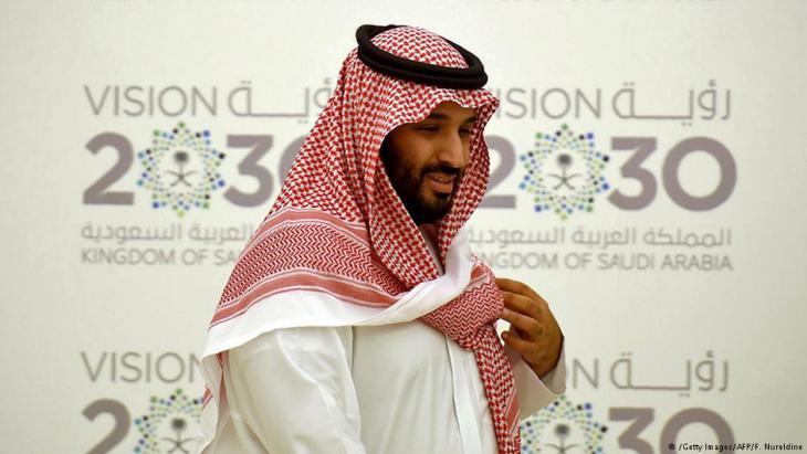"Kronprinz Mohammed bin Salman bei der Präsentation der ""Vision 2030""; Foto: Getty Images/AFP"