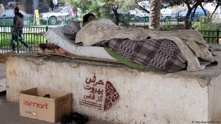 Ein obdachloser Libanese am Rande eines Parks in Beirut; Foto: Getty Images/AFP