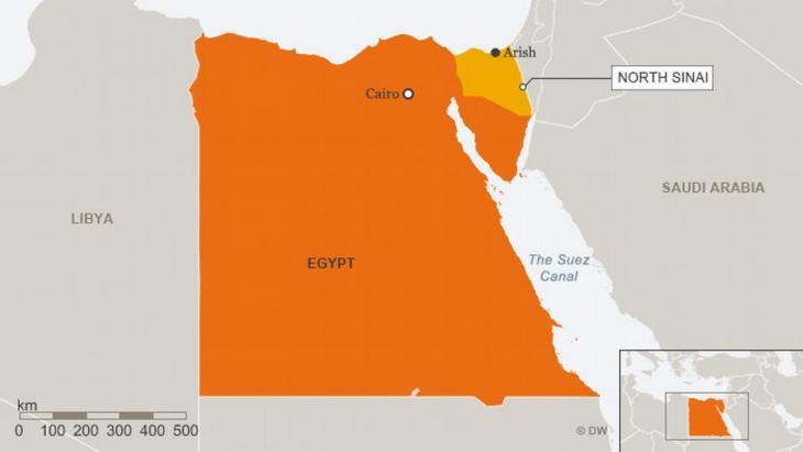 Infografik Ägypten mit Nord-Sinai; Quelle: Deutsche Welle