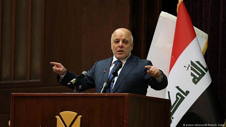 Haider al-Abadi verkündet während einer Pressekonferenz am 9. Dezember 2017 den Sieg gegen den IS; Foto: picture-alliance/AP