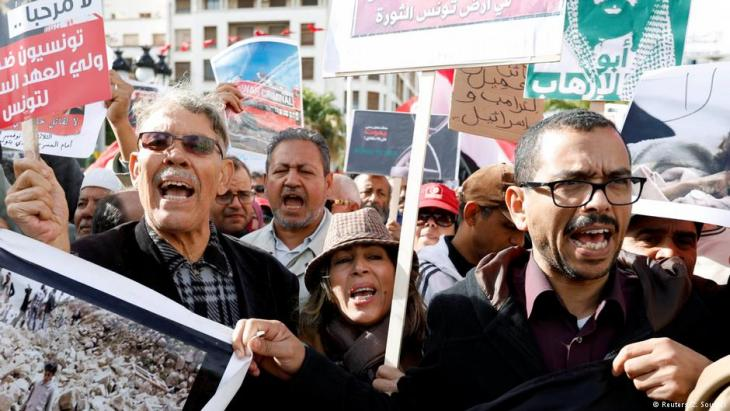 Proteste gegen den Besuch des saudischen Kronprinzen MbS in Tunis; Foto: Reuters