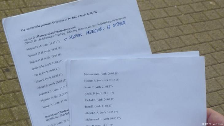 """Auf Falks Liste stehen 122 Häftlinge, die er """"muslimische politische Gefangene der BRD"""" nennt; Foto: DW"""
