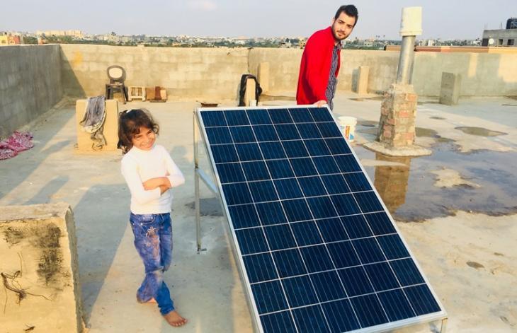 Solarpanel für die Bewohner von Mograka; Foto: Inge Günther