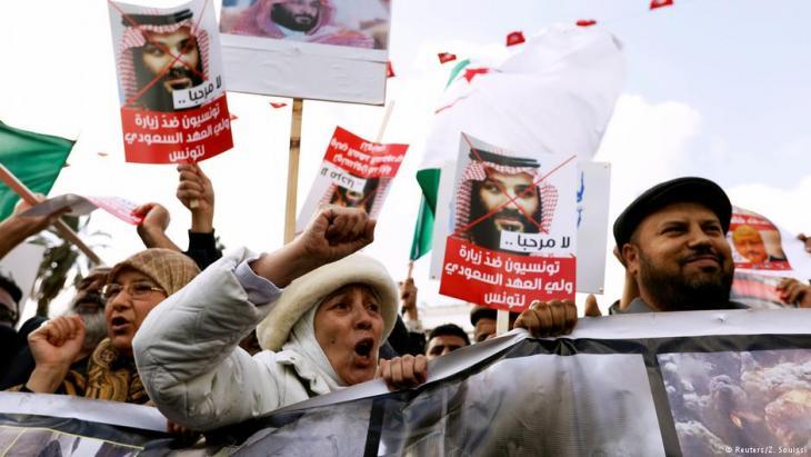 Proteste gegen den Besuch von Kronprinz  Mohammed bin Salman in Tunis am 27. November 2018; Foto: Reuters/Z. Souissi