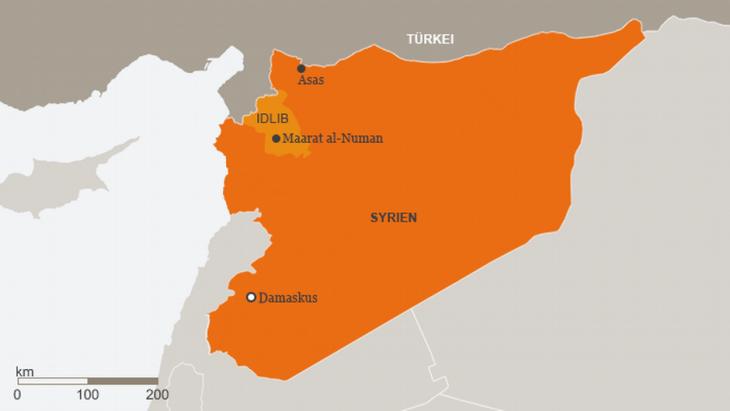 Infografik Provinz Idlib mit der Stadt Maarat al-Numan; Quelle: DW