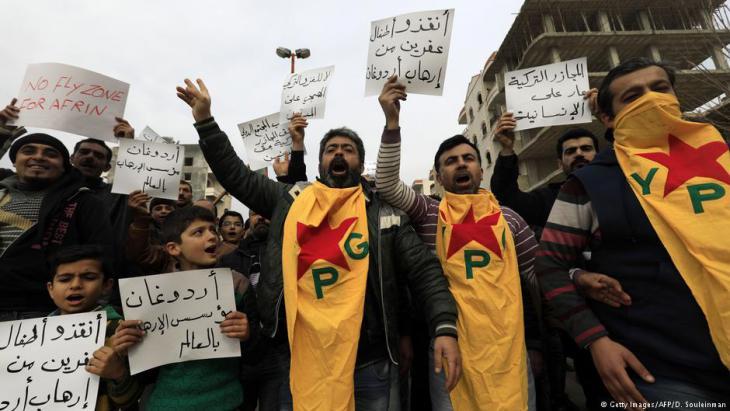Proteste von Kurden in Afrin gegen türkischen Militäreinsatz; Foto: Getty Images/AFP