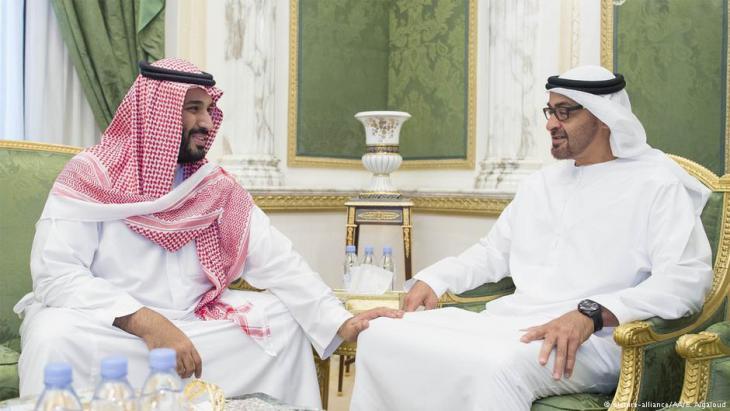 Mohammed bin Zayed Al Nahyan (l.) bei Mohammed bin Salman in Riad; Foto: picture-alliance/AA