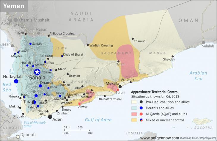 Karte zeigt gegenwärtige Machtzentren der Huthi-Milizen im Jemen; Quelle: polgeonow.com