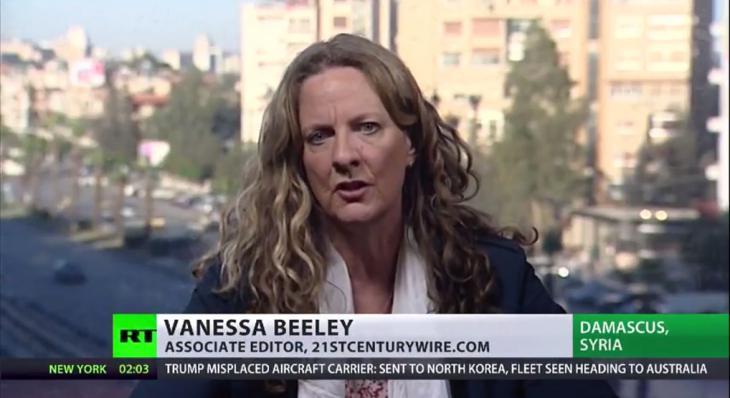 """TV-Ausschnitt """"Russia Today"""": Vanessa Beeley im Interview"""