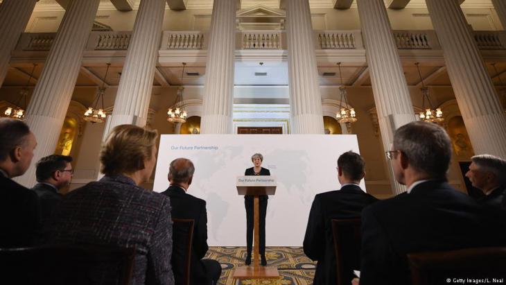 Die britische Premierministerin Theresa May während einer Brexit-Rede im Mansion House am 02.03.2018 in London; Foto: Getty Images/L. Neal