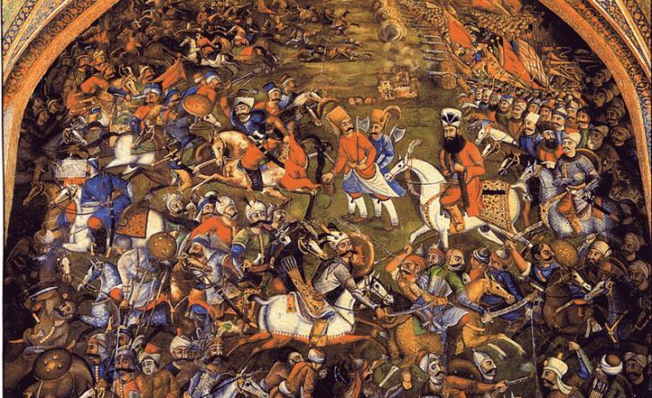Fresco im Chehel Sotoun Palast zeigt die Schlacht von Chaldiran zwischen Osmanen und Safawiden im Jahr 1514; Quelle: Wikimedia Commons