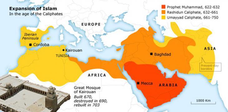 Karte zur Ausbreitung des Islam im Nahen und Mittleren Osten; Foto: fanack.com
