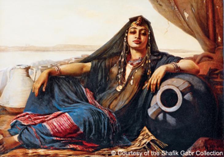 """Illustration """"Ägyptische Verkäuferin von Krügen bei Giza'' von Elisabet Jerichau-Baumann (1876)"""