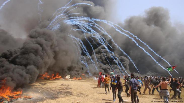 Palästinenserproteste bei Chan Junis; Foto: dpa/picture-alliance