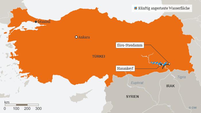 Karte Infografik Ilisu-Staudamm; Foto: DW
