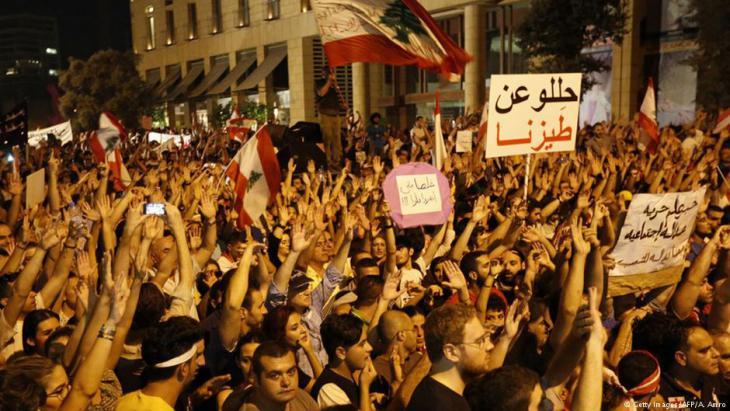 Proteste gegen Müllkrise und Korruption der politischen Eliten im Libanon im Sommer 2015; Foto: Getty Images/AFP