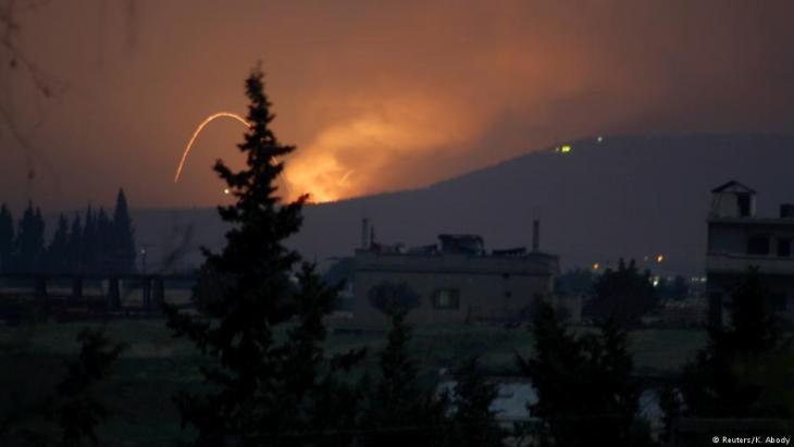Raketenangriff bei Hama, Syrien; Foto: Reuters