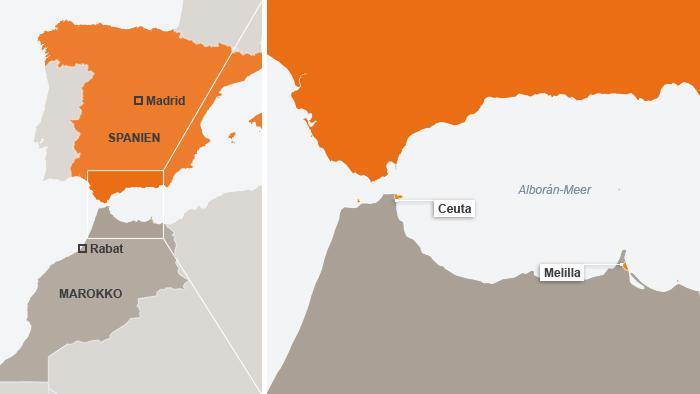An den spanischen Exklaven Ceuta und Melilla harren Zehntausende Migranten aus - vorwiegend aus Ländern südlich der Sahara; Infografik: DW