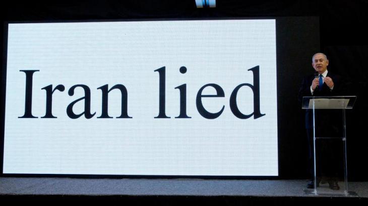"""Pressekonferenz: Netanjahu präsentiert Bilder aus einem """"geheimen Atomarchiv"""" in Teheran; Foto: dpa"""