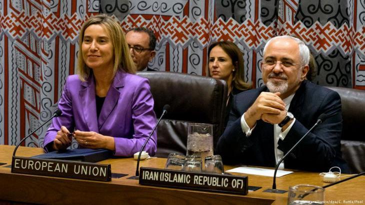 EU-Außenbeauftragte Mogherini und Irans Außenminister Zarif auf einem Treffen am Rande einer UN-Hauptversammlung im Jahr  2016; Foto: dpa/picture-alliance