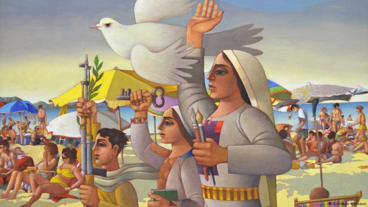 """Gemälde des palästinensischen Künstlers Suleiman Mansour mit dem Titel """"And the Convoy Keeps Going""""; Foto: Suleiman Mansour"""