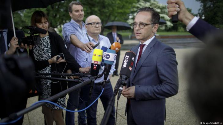 Bundesaußenminister Heiko Maas vor Journalisten in Washington; Foto: imago/photothek