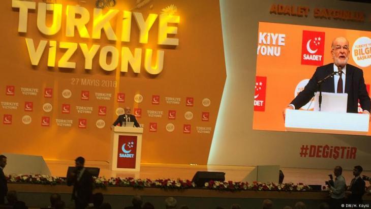 """Die """"Partei der Glückseligkeit"""" (SP) präsentiert am 27. Mai 2018 ihr Wahlmanifest in Ankara; Foto: DW/Hilal Koylu"""