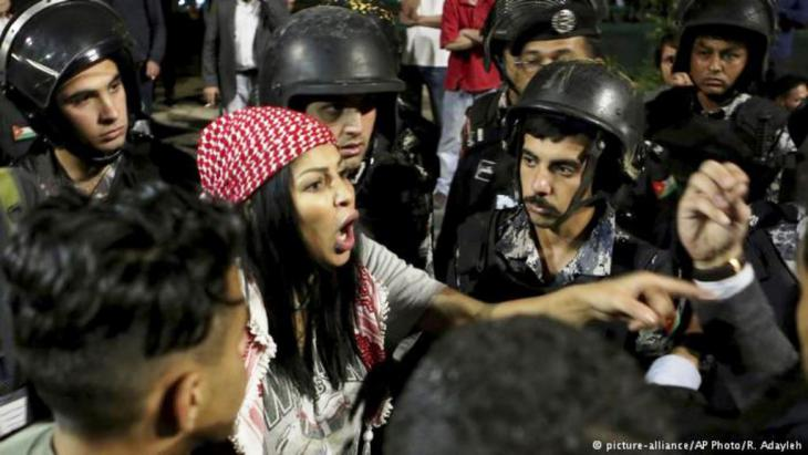 Proteste in Amman; Foto: picture-alliance/AP