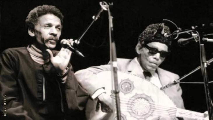 Sheikh Imam und Ahmad Fuad Nigm während eines Konzerts in Kairo; Quelle: youtube