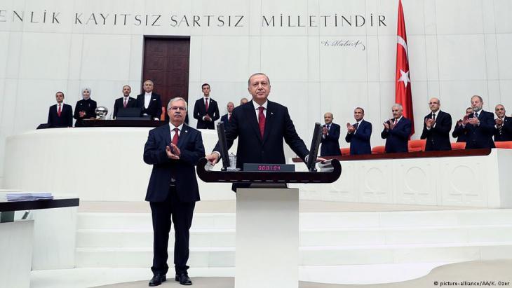 Vereidigung Recep Tayyip Erdoğans im türkischen Parlament in Ankara am 09.07.2018; Foto: picture-alliance/AA