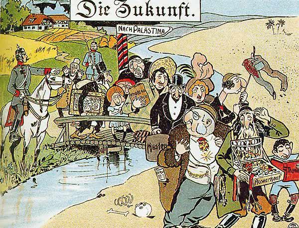 """Antisemitische Karikatur aus dem Kaiserreich um 1900; Quelle: Geschichtsbuch """"Zeiten und Menschen 1"""""""